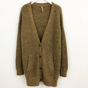 Free People army green oversized cardigan